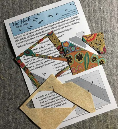 The FLOCK bird block kits include all the fabric needed to make patchwork pieced bird quilt blocks. Each kit includes a practice unit