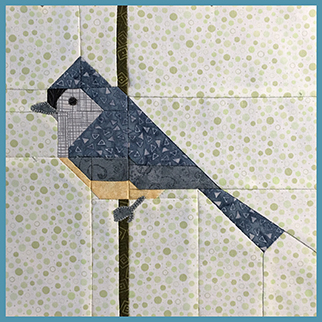 The FLOCK Bird quilt blocks. Kits include all fabric needed to sew the patchwork pieced quilt block