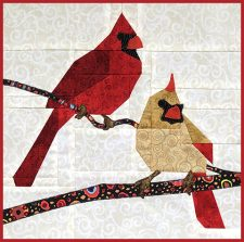 The FLOCK Bird block quilt kits. Each bird quilt block kit contains all the fabric needed to make the detailed block. Patchwork pieced, not paper pieced.