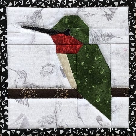 "5"" Free Hummingbird Quilt block from The FLOCK"
