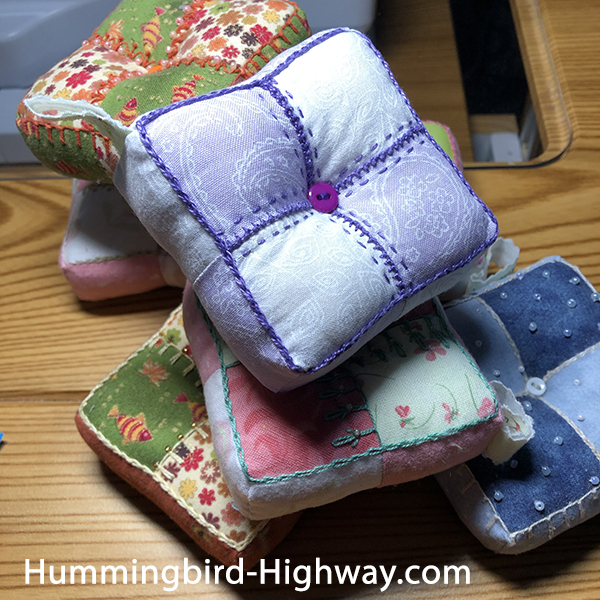 four-patch pin cushions, pincushions
