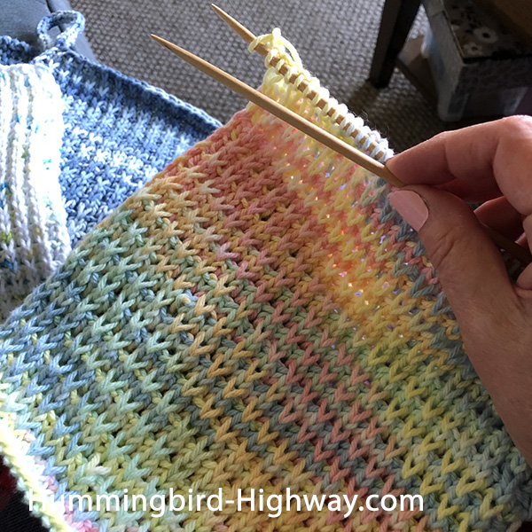 In progress knitted wash cloth