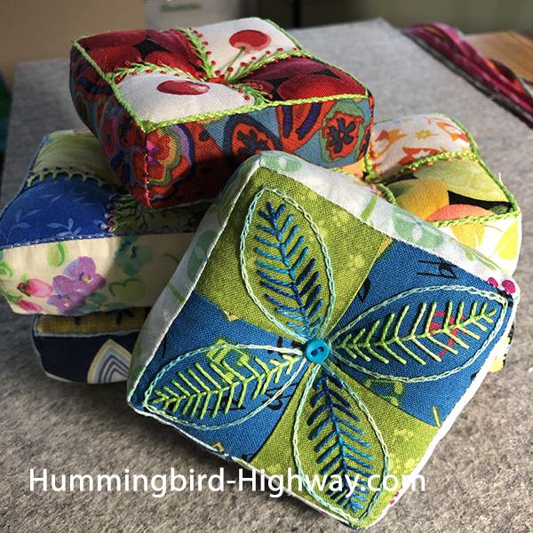 Four Patch Pin cushions week 6